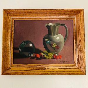 Vintage Still life fruit & pitcher framed painting